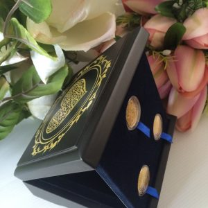 24Qirats Premium Heart Blue Mahar Box 3 coins Side