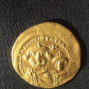 Byzantine Heraclius & Heraclius Constantine (son) Gold Dinar Obverse